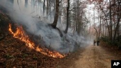 FILE - Firefighters walk down a dirt road a wildfire burns a hillside Tuesday, November 15, 2016, in Clayton, Georgia. The U.S. Forest Service is tracking wildfires that have burned 80,000 acres across the South.