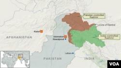Peta Rawalpindi, Islamabad Pakistan, dan garis kontrol Kashmir.