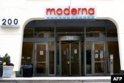 (FILES) In this file photo a view of Moderna headquarters is seen on May 8, 2020 in Cambridge, Massachusetts.