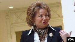 Valentina Matvienko, ketua majelis tinggi parlemen Rusia, yang dikenakan visa terbatas AS.