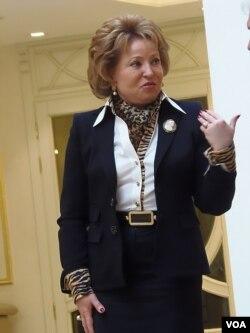 俄罗斯上议院联邦委员会主席马特维延科。(美国之音白桦拍摄)