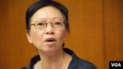 泛民會議召集人何秀蘭表示,聯絡小組是「君子協定」,無任何強制及懲罰。(美國之音湯惠芸拍攝)