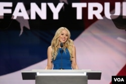 Tiffany Trump speaks at the Republican National Convention in Cleveland, Ohio, July 19, 2016. (A. Shaker/VOA)
