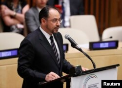 FILE - Afghanistan's Minister for Foreign Affairs Salahuddin Rabbani speaks during a high-level meeting on addressing large movements of refugees and migrants at the United Nations General Assembly in Manhattan, New York, U.S., Sept. 19, 2016.
