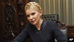 Former Ukrainian Prime Minister and opposition leader Yulia Tymoshenko speaks during an interview in Kiev, Ukraine (File Photo)