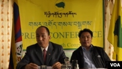 Tibetan Youth Congress president Tsewang Rigzin addressing during the press conference