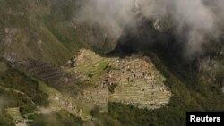 Аэрофотоснимок древнего поселения в Андах