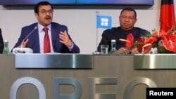 OPEC President Qatar's Energy Minister Mohammed bin Saleh al-Sada and OPEC Secretary General Mohammad Barkindo address a news conference after a meeting of the Organization of the Petroleum Exporting Countries (OPEC) in Vienna, Austria, Nov. 30, 2016.