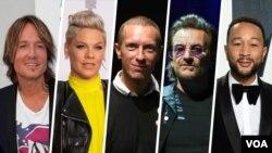 Fom left, Kieth Urban, Pink, Chris Martin, Bono, and John Legend