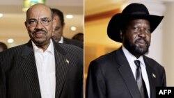 오마르 알-바스리 수단 대통령(왼쪽)과 살바 키이르 남수단 대통령 (오른쪽).