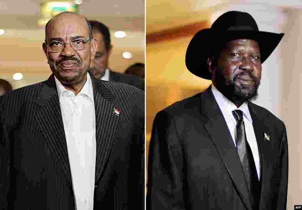 Sudanese President Omar al-Bashir (L) held talks at the AU summit with his South Sudanese counterpart Salva Kiir on issues including oil, ongoing rebellions in the two countries, and new border crossings, but Bashir refused to discuss the disputed region of Abyei when Kiir tried to raise it.