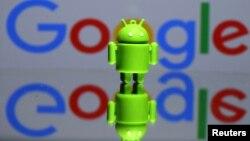 Cetakan 3 Dimensi Maskot Android, Bugdroid di depan logo Google. (Foto: Ilustrasi)