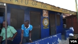 Business has fallen off at the Ghana Private Roads Transport Union office in Buduburam, shown Oct. 28, 2014. (Chris Stein/VOA)