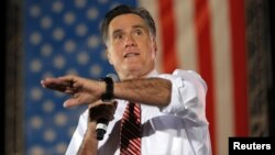 U.S. Republican presidential nominee Mitt Romney speaks at a campaign rally in Fishersville, Virginia October 4, 2012.