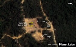This image by Planet Labs taken on Feb. 5, 2021 shows illegal logging activities in Prey Lang, Cambodia.