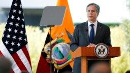 Menteri Luar Negeri AS Antony Blinken berbicara kepada hadirin di Quito, Ekuador, 20 Oktober 2021. (Foto: AP)