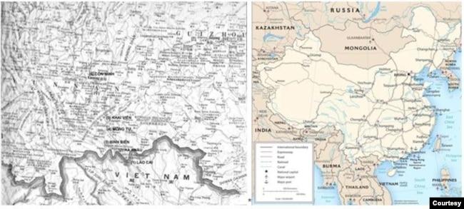"""trái, [định vị các địa danh được đánh số trên bản đồ] hành trình đường bộ của Nguyễn Tường Bách cùng 7 """"chinh nhân"""" đi từ (1) Lào Cai qua (2) Hà Khẩu / Hekou, (3) Bình Biên / Pingbian, (4) Mông Tự / Mengzi, (5) Khai Viễn / Kaiyuan, (6) Côn Minh / Kunming. [source: The Contemporary Atlas of China (Boston : Houghton Mifflin Co., 1988), p. 31.]; phải, một phần bản đồ Việt Nam – Trung Hoa và trục hoạt động chính của Nguyễn Tường Bách và Hải ngoại vụ VNQDĐ: Côn Minh / Kunming – tỉnh Vân Nam / Yunnan, Quảng Châu / Guangzhou – tỉnh Quảng Đông / Guangdong, Hồng Kông, Thượng Hải / Shanghai."""