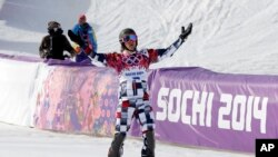 남자 스노보드 평행활강 결승에서 1위로 결승선을 통과하고 환호하는 빅 와일드 선수 (자료사진)