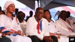 Opposition presidential candidate Nana Akufo-Addo, looks on from the stage during his final campaign rally in Accra, December 5, 2012.