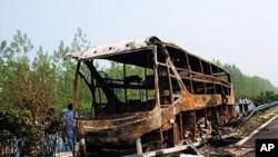 Xe buýt bị cháy ở Trung Quốc (ảnh tư liệu)
