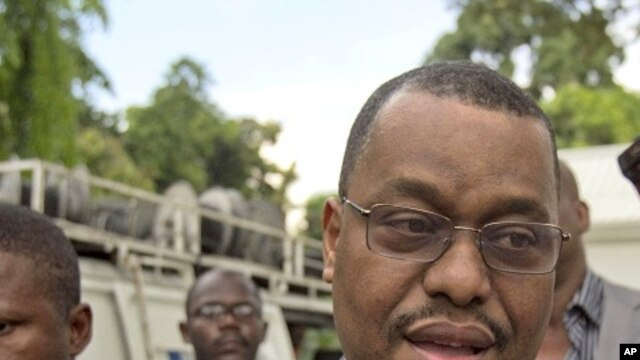 Haitian Prime Minister Garry Conille talks to a reporter in Port-au-Prince (file photo)