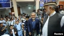 阿富汗总统候选人阿卜杜拉7月8日参加喀布尔的一个支持者集会