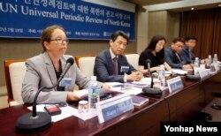 18일 오후 서울 중구 프레스센터에서 열린 유엔인권이사회 보편적 인권정례검토에 대한 북한의 권고 이행 조사 세미나에서 시네 폴슨 유엔 서울사무소 소장(왼쪽)이 토론하고 있다. 왼쪽 두번째는 오준 전 유엔대사.