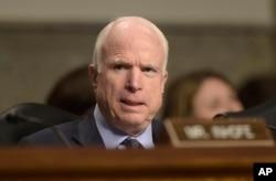 Senate Armed Services Committee Chairman Sen. John McCain, R-Ariz. speaks on Capitol Hill in Washington.