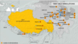 Map of self-immolations in or near Tibet