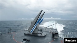 Hải quân Đài Loan tập trận bắn phi đạn ngoài khơi phía nam thành phố Cao Hùng.
