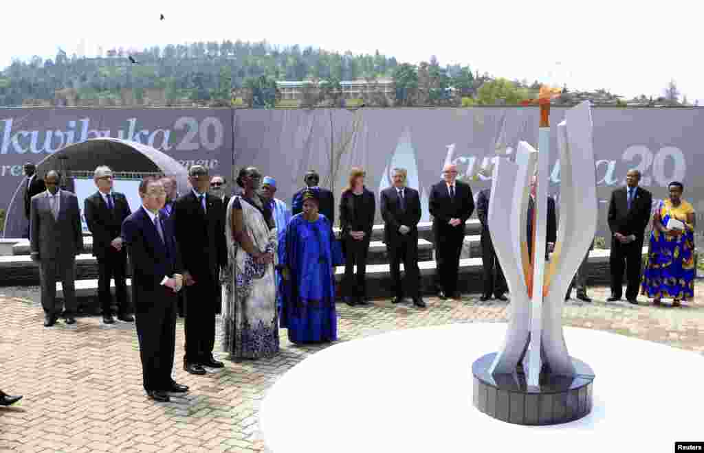 U.N. Secretary General Ban Ki-moon, Rwandan President Paul Kagame, Jeannette Kagame and AU Commission Chairwoman Nkosazana Dlamini-Zuma participate in the commemoration of the 20th anniversary of the genocide in Kigali, April 7, 2014.