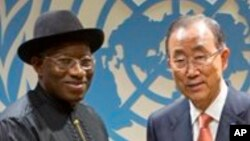 Shugaba Goodluck Jonathan hadu da sakataren Majalisar Dinkin Duniya Bank Ki-moon alokacin babban taron Majalisar Dinkin Duniya.