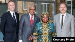 Richard Horton, Editor, The Lancet; UNAIDS Executive Director Michel Sidibé; Nkosazana Dlamini Zuma, Chairperson, African Union Commission; and Peter Piot, Director, London School of Hygiene and Tropical Medicine. London, United Kingdom, June 25, 2015. They took part in launch of UNAIDS / Lancet Commission report. Credit: UNAIDS/RowanGeorgeFarrell