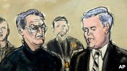 Vincent Asaro, à gauche, avec son avocat Gerald McMahon au tribunal fédéral de Brooklyn à New York, janvier 23 2014.