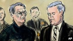 """Vincent Asaro, à gauche et l'avocat Gerald McMahon, New York, janvier 23, 2014. Asaro est jugé pour son rôle dans le hold-up de la Lufthansa en 1978, immotalisé au cinéma dans le film """"Les Affranchis"""" de Martin Scorsese. (AP Photo /Elizabeth Williams)"""