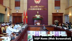 Phó Thủ tướng Vũ Đức Đam tại cuộc họp với Bộ Tư lệnh Bộ đội Biên phòng hôm 11/8. Ông Đam yêu cầu siết chặt kiểm soát biên giới giữa lúc Việt Nam đối mặt với sức ép lớn trong đợt dịch thứ 3.