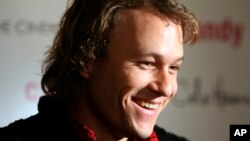 "FILE - Actor Heath Ledger arrives for the premiere of his new film ""Candy"" in New York, Nov. 6, 2006."