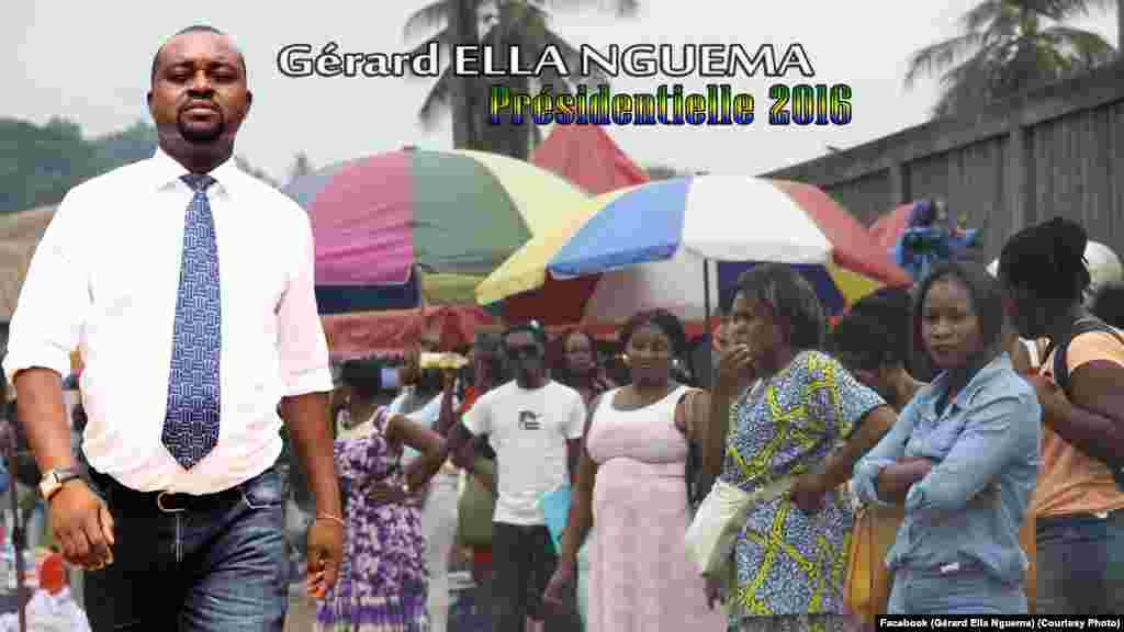 Gérard Ella Nguéma, ancien secrétaire exécutif du parti Union Nationale (UN), est l'un des plus jeunes candidats de la campagne.