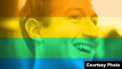 Foto profil Mark Zuckerberg yang menggunakan fitur pelangi untuk merayakan persamaan hak LGBT (foto: Facebook)