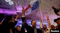 Juan Carlos Varela, kandidat presiden dari partai Panamenista (PP), sesaat setelah hasil pemilu Panama diumumkan secara resmi di ibukota Panama (4/5).