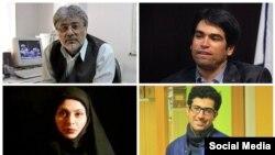 از راست بالا: احسان مازندرانی، عیسی سحرخیز/ از راست پایین:سامان صفرزایی، آفرین چیتساز - روزنامه نگارانی که اخیرا بازداشت شدند