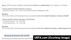 Snimak sa zvaničnog sajta UEFA o kaznama za fudbalske saveze Kosova i Crne Gore