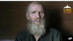 مغوی امریکی پروفیسر کی جنوری میں جاری کی جانے والی ایک ویڈیو کا اسکرین شاٹ
