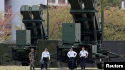 지난 4월 북한의 군사 도발 위협에 대응해 일본 도쿄 인근에 배치된 자위대 소속 패트리어트 지대공 요격 미사일. (자료사진)