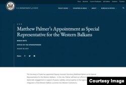 Saopštenje na zvaničnoj stranici State Departmenta o imenovanju Matthewa Palmera za specijalnog predstavnika za Zapadni Balkan