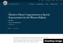 Saopštenje na zvaničnoj stranici Stejt departmenta o imenovanju Metjua Palmera za specijalnog predstavnika za Zapadni Balkan