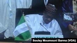 Lokacin da shugaban Najeriya Muhammad Buhari ke sanya hannu a yarjejeniyar AfCFTA