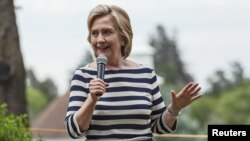 Democratic U.S. presidential candidate Hillary Clinton speaks to supporters in Winterset, Iowa, July, 25, 2015.