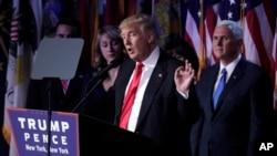 Donald Trump donne un discours après avoir été élu président des Etats-Unis, à New York, le 9 novembre 2016.