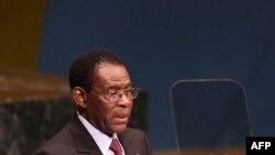 Teodoro Obiang Nguema Mbasogo, président de la Guinée équatoriale, prend la parole lors du Sommet de la paix Nelson Mandela, à New York, le 24 septembre 2018. (AFP)